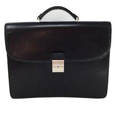 Toscane Canada Black Leather Unisex Briefcase Work Bag