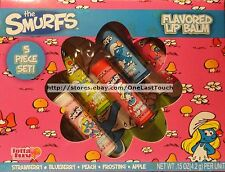 LOTTA LUV* 5pc Lip Balm Set THE SMURFS Flavored STRAWBERRY+PEACH+APPLE+MORE New