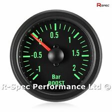 52mm Green Traditional Black Face Turbo Boost Pressure Gauge Kit - Bar