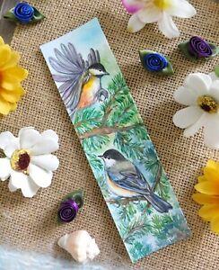 Original Bookmark Watercolor Painting Chickadees Bird Animal Art by Patricia