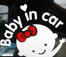 White Girl Baby on Board Baby in Car Window Car Sticker Vinyl Decal 1pc