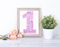 Personalised NUMBER Age Word Art Print Birthday Gift 1st 16th 18th 21st 75th A4