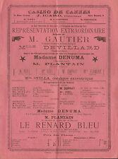 CASINO DE CANNES ICARD DIRECTEUR AFFICHE SPECTACLE GAUTIER MME DENUMA NOEL 1894