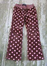 MINI BODEN Pink Brown polka Dot Heart knee Patch Rib Knit Waist Pants Size 8