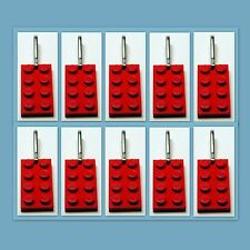 10 Lot Lego 3020 Red brick plate Zipper Pull Charm Book Bag School Bag Backpack