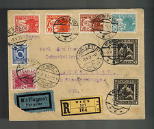 1931 Vienna Austria Registered airmail Cover to Czechoslovakia