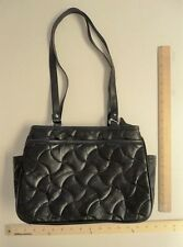 Women's D'Margeaux Black Hand Bag Purse Style LEATHER Tote Bag Quilted Pattern