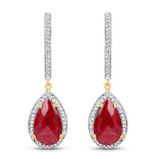 10.44ct Genuine Red Ruby & White Topaz Gemstone Drop Earring 925 Sterling Silver