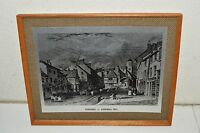 "Vintage 1960s Metal Print on Wooden Frame PENZANCE in Cornwall ""1833"" Rare"