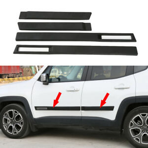 Fits 2015-2021 Jeep Renegade ABS Body Side Door Molding Cover Trim Garnish-Black