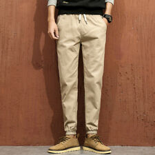 Outlet Casual Style Elastic Tapered Trousers for Men - Khaki