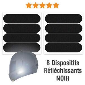 8 Stickers Réfléchissants pour casque moto 8 x 2 cm: Adhésifs signalisation PRO