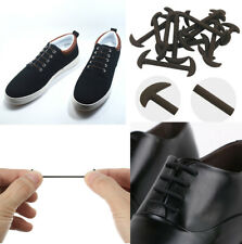 Elastic Silicone No Tie Black & Brown Smart Shoe Laces For Adults Kids Shoelace