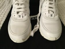 2659e6bc911 Chanel White Leather Black Satin Sneakers Shoes size 40