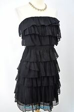 J J. CREW dress layered Tiered Ruffle Silk Cocktail Party strapless 8 M LBD $148