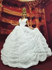 Eaki White Bride Evening Dress Outfit Gown Fits Silkstone Barbie Fashion Royalty