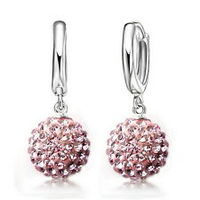 Austrian Cz Crystal Pave Disco Ball Hoop Lever back Earrings Woman Jewelry