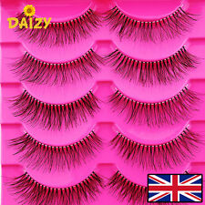 5 PAIRS NATURAL BLACK FALSE EYELASH THICK FAKE FALSE EYELASHES THIN BAND LONG