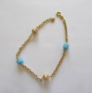Anklet - 18K Gold Plated- gold and blue circular beads- 10inches long