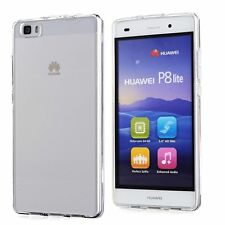 Transparent Clear Gel Back Case Skin Cover For Huawei P8 Lite + Screen Guard