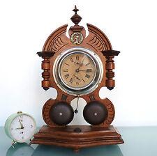 JUNGHANS Alarm RARE! Large Clock Antique Mantel Germany Double FRONT Bells Shelf