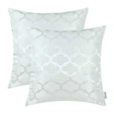 2Pcs White Cushion Covers Pillows Shells Accent Geometric Home Sofa Decor 16x16""