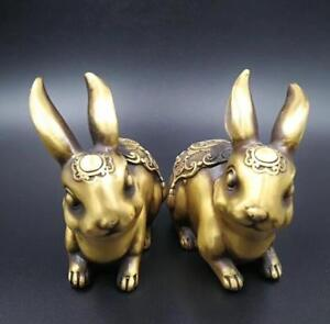 Chinese antique pure brass carving rabbit  lucky  copper Pendant 兔子