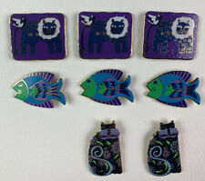 New listing Laurel Burch Buttons by Dill Enamel Lot Of 7 Fish Lion Cat Cats Purple Blue