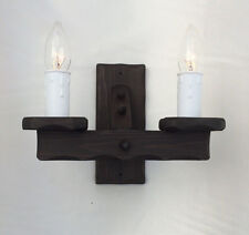 TW/2 - Traditional Rustic Wooden 2-Light Wall Light / Wood Wall Bracket