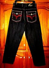 KNOCK OUT ST LEG EMBELLISHED JEANS W FLAP POCKETS & RED RHINESTONES/STUDS SZ 32