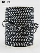 MAY ARTS RIBBONS~SOLID DIAGONAL STRIPE~BLACK & WHITE~1/8TH INCH WIDE X 3 YARDS!