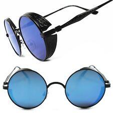 Round Side Shield Retro Gothic Steampunk Style Black Blue Mirror Lens Sunglasses