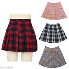 Harajuku Japanese High School Girls Summer Pleated Skirt Mini Plaid Skirts Dress