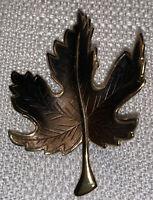 Vintage Gold Tone with Brown Enamel Maple Leaf Brooch Pin