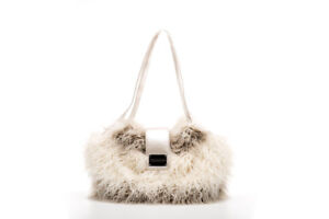 NWT Inamorada Handmade Italian Ivory Fluffy Fur Bigfoot Small Dog Carrier Bag