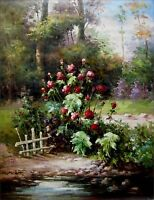 Stretched Quality Hand Painted Oil Painting, Garden with Flowers,  36x48in