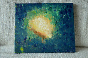 Original Painting -Exit from the darkness- Vedic Art Acrylic Canvas Signed