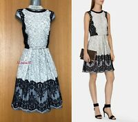 UK 12 KAREN MILLEN Black White Layered Effect Lace Full Skirt Cocktail Dress 40