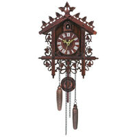 Vintage Handcrafted Wood Cuckoo Clock Tree House Swing Wall Clock Decor R2O4