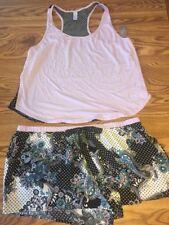 NWT Women's Secret Treasures PJ's Tank & Shorts 2 Pc Set Sleepwear Purple Black