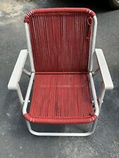 Vintage Aluminum Yarn Cotton Lawn Beach Yard Lounge Chair Camp Pool