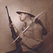 "Hendrickson Original Photo Sepia MR HENDRICKSON HIMSELF HUNTING WEASELS 8 x 8.5"""