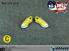 1/6 Men Shoes Converse Lace Up Sneakers YELLOW For Hot Toys Phicen Male Figure