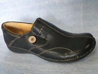 Womens Clark Artisan Unstructured Black Leather Slip on Loafer Style Shoes sz12M