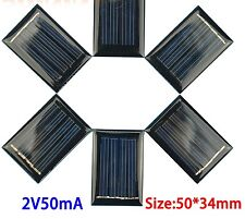 Micro Mini Small Power Solar Cells Panel 10Pcs 2V 50mA 50*34*3mm For DIY Toy