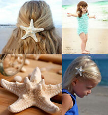 Lady Real Starfish Mermaid Ariel Sea Star Hair Clip Beach Beauty Hair Barrette C