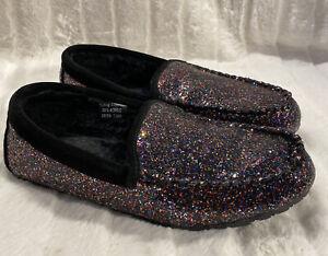 Clarks Women's Faux Fur Moccasin Slippers Black Glitter Size 10