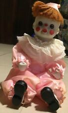 "Beautiful Vintage Bendable Porcelain Bisque China Pink Clown Doll 8"" Tall"