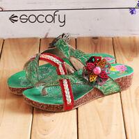 Socofy Women Sandal Slipper Floral Clip Toe Wedge Casual Beach Shoes Summer #