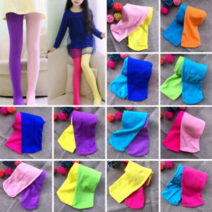 Kids Girls Candy Color Pantyhose Skinny Pants Mixed Tights Stretch Trouser Socks